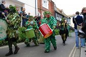 HASTINGS, ENGLAND - MAY 7: Drummers perform during a parade through the Old Town at the Jack In The
