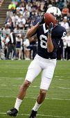 Penn State receiver Derek Moye catches the football