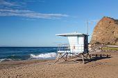 California Lifeguard Post On Sandy Beach