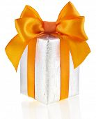 present box with orange ribbon bow isolated on white