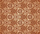 stock photo of triskele  - Vintage beige abstract ornate flowers seamless pattern - JPG