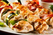 picture of veal meat  - Grilled meat and vegetables - JPG