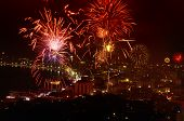 Night View Of The Fireworks new year at pattaya city