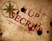 stock photo of top-secret  - Old paper texture with windrose and top secret - JPG