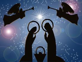 stock photo of christmas angel  - Artistic illustration of modern abstract Christmas Nativity scene on blue background - JPG