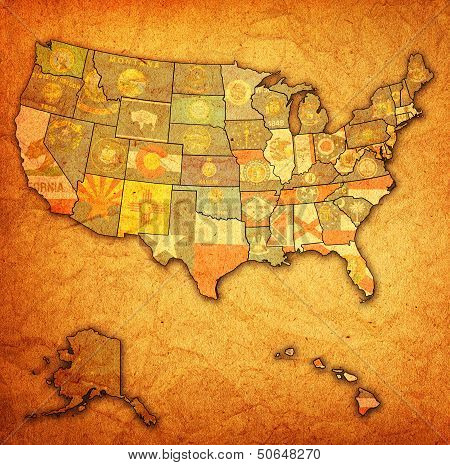 States On Map Of Usa poster