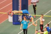 VIENNA, AUSTRIA - JANUARY 29 Jan Zmoray (#78 Slovakia) places 5th in the men's pole vault event on J