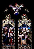 picture of stained glass  - Stained glass depicting the Nativity of God in the church of St. Mary and St. Nicholas in Beaumaris Anglesey Wales