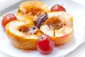 Baked Apples With Spices, Honey And Chocolate On White Plate