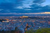 Acropolis and Athens cityscape twilight view