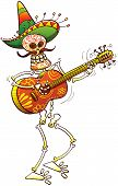 pic of serenade  - Colorfully decorated skeleton with a big Mexican hat and a huge mustache when smiling and playing guitar happily - JPG