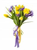 stock photo of purple iris  - Iris and tulip flower arrangement isolated on white - JPG