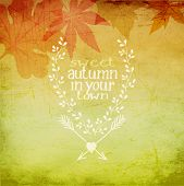 Autumn in your town - Fall background, with autumn leaves and doodle style hand drawn insignia for personal message