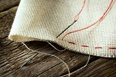 Needle And Natural Linen Canvas Texture