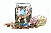 Money Jar With Euro Currency