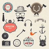 Hipster style design elements and icons set. Sunglasses, mustache, bow, anchor, hat, camera. Vector