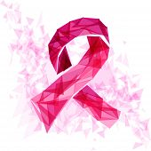 Breast Cancer Awareness Ribbon With Triangles Eps10 File.