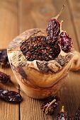 chipotle - jalapeno smoked chili in wooden mortar