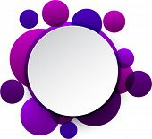 Vector illustration of white paper round speech bubble over purple background. Eps10.