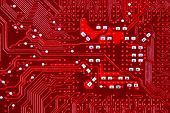 Red colored computer circuit board