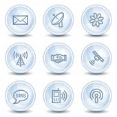 Communication  web icons, light blue glossy circle buttons