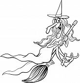 Witch Cartoon For Coloring Book