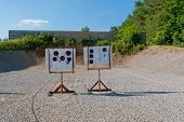 Outdoor Pistol Shooting Range  With Targets .
