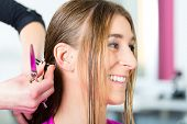 Hairdresser - hair stylist cutting hair, a female customer gets a haircut