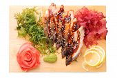 Sashimi Unagi On A Board Top View