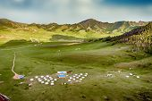 stock photo of mongol  - Yourt Camp in Terelj National Park Mongolia with green meadows and animals - JPG