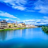 Florence Or Firenze Arno River Landscape. Tuscany, Italy.