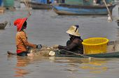 People fishing on Tonle Sap Lake