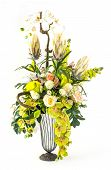 Bouquet Of Orchid And Rose In Glass Vase