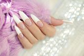 French long manicure.
