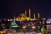 Night View On The Restaurants At The End Of The Galata Bridge, Sultanahmet, At Sunset With The Famou