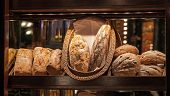 Wooden Bakery Counter With Fresh Bread