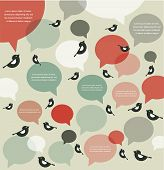 retro backgroung of bird communication , infographics