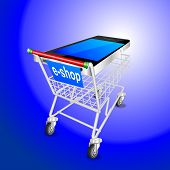 SMART PHONE mobile shopping cart BLUE