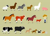 stock photo of calves  - Cute Cartoon Farm Characters including a farmer and 17 farm animals - JPG