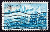 Postage Stamp Usa 1951 Detroit Skyline And Cadillac Landing