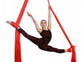 Acrobatic Gymnastic Girl Exercising On Fabric Rope