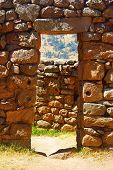 Doorway at Pisac ruins, Cuzco, Peru