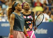Grand Slam champions Serena Williams and Venus Williams during their doubles match at US Open 2013