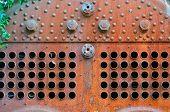 Detail of rusty steam boiler