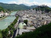 Salzburgh Old Town And Salzach River