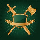 stock photo of armorial-bearings  - Vector heraldic pattern on dark green background - JPG
