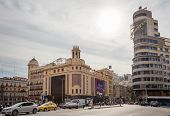 View Of Capitol Building And Callao Cinemas In Gran Via Street, In Madrid, Spain