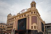 View Of Callao Cinemas In Gran Via Street, In Madrid, Spain
