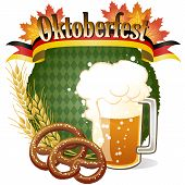 stock photo of pretzels  - Round Oktoberfest Celebration design with beer and pretzel - JPG