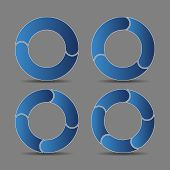 Four Abstract Arrows In Blue Tone